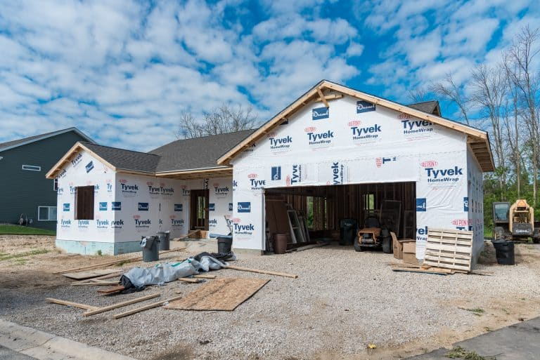 A new home being built with electrical work by H&H Electric, an electrician for new construction in Kewaskum and surrounding areas.
